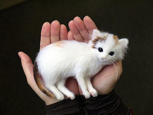 Felted Cat Hair Cat Figurines